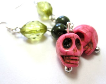 Green Pink Sugar Skull Earrings Day Of The Dead Jewelry