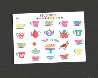 Tea Time  - Planner Stickers -  Repositionable Matte Vinyl  - Suits All Planners