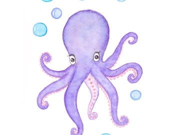 Octopus art print. Under the sea nursery art decor. Whimsical octopus watercolor painting. Nautical ocean nursery art Children kids room art