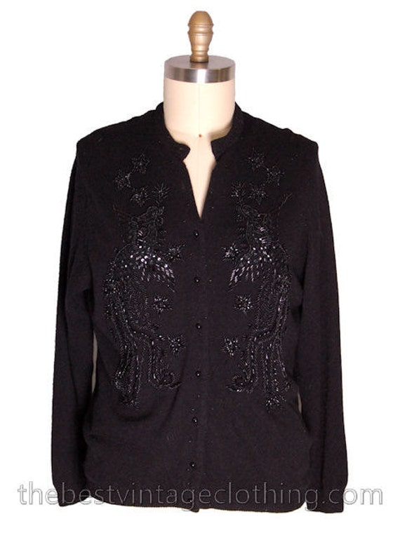 Wool Black 1950s Beads Gorgeous to Vintage Black Beaded Sweater XL On 011BWUg