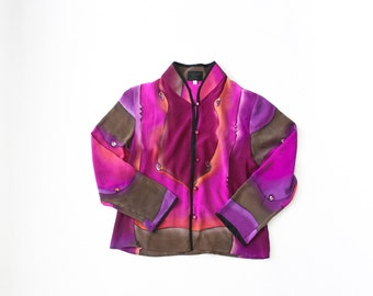 1990s Handpainted Silk Blouse / 90s Ombre Dyed Shirt Top / SeaPunk / Vaporwave / Abstract Graphic Button Up / Hand Painted / Small / Medium