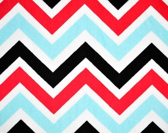 CLEARANCE Minky Chevron ZigZag - Turquoise/Red/Black - 1/2 Yard - SALE