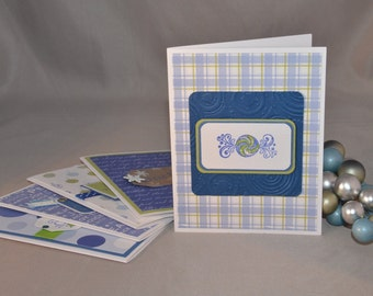 Whimsical Blue and Green Handstamped Christmas Cards (Set of 5)