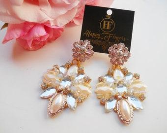 Wedding Earrings Bridal Earrings White Earrings Gold Earrings Statement Earrings Bridal Jewelry Bridesmaid Earrings Gift For Her Must Have