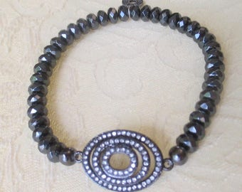 Hematite Beaded Bracelet with Triple CZ Sphere Connector