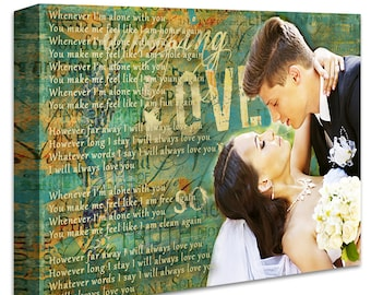 Custom Wedding Photo Canvas Print. 16x24 inches Gallery Wrapped Canvas Art, Photo with Lyrics, First Dance Song,Vows.