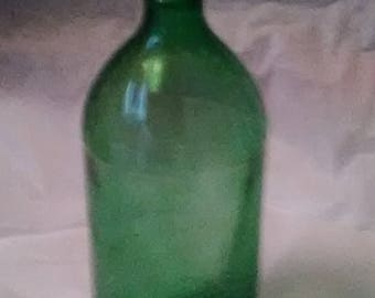1 Quart Green Glass Juice Bottle