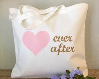 Happily Ever After Heart Tote Bag - purse, beach bag, grocery bag or bridesmaids gift bag