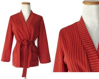 70s Wrap Cardigan Jacket 1970s Cardigan Polyester Striped Rust Red Boho Bohemian Hippie Hipster Size Medium M