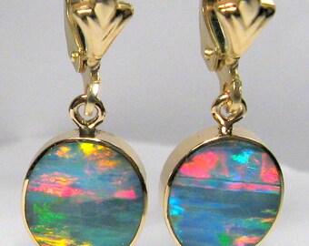 9.9ct 14k Gold Genuine Quality Australian Opal Inlay Earrings Jewelry Gift  #675