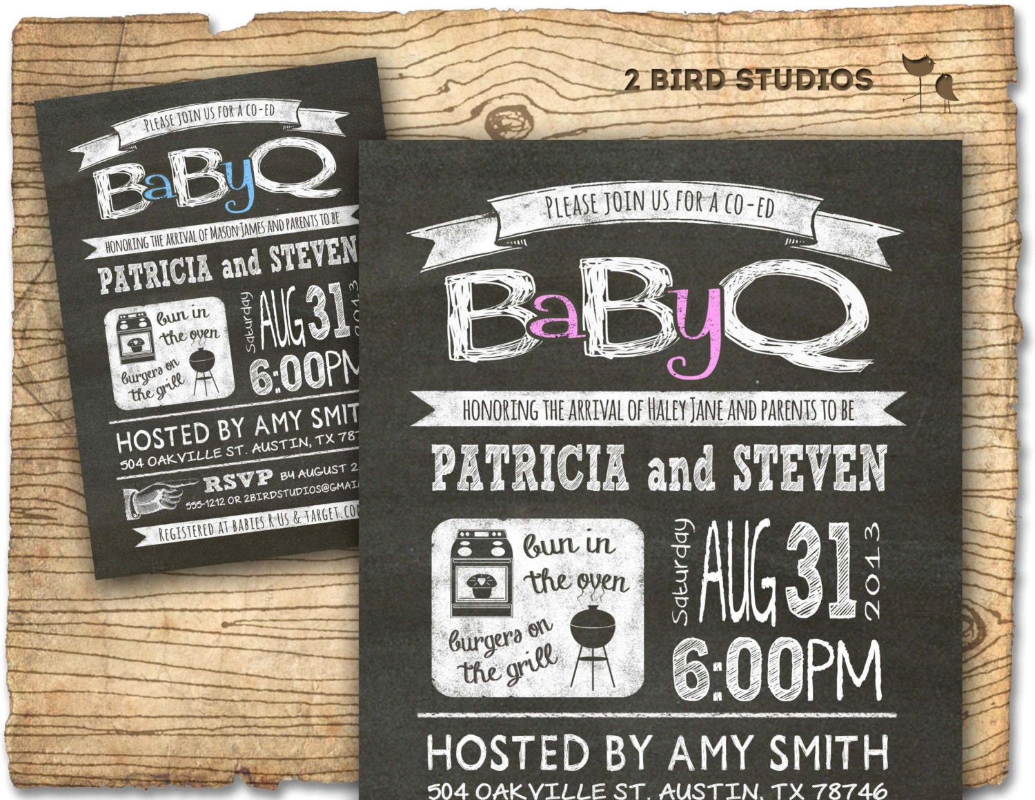 Baby Q Baby shower invitation COED baby shower invite