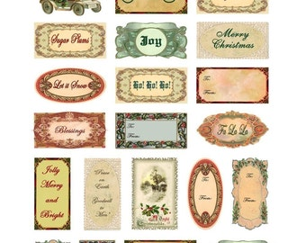 Christmas Labels and Tags Collage Sheet - with Holiday Messages and Words - Instant Digital Download - Printable