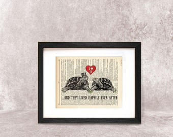 And they lived happily ever after print-Turtles in love print-wedding print-tutle on book page-funny animals print-byNATURA PICTA-NPDP077