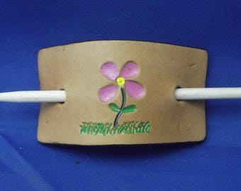 LEATHER Handmade Western Hair Stick Pony Tail Bun Holder - FLOWER GRASS Painted