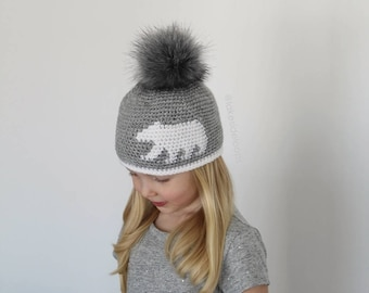 Crochet Pattern - Landon Bear Silhouette Hat/Beanie by Lakeside Loops (includes Toddler, Child, and Adult sizes)