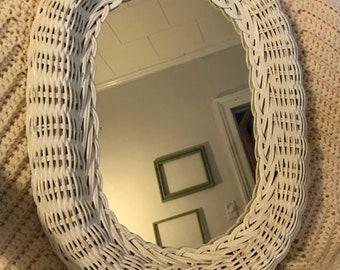 Vintage White Oval Wall Mirror