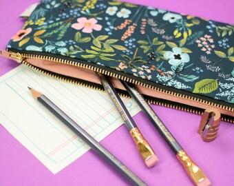 Floral Pencil Case, Navy Zipper Pouch, Rifle Paper Co Pencil Pouch, Rifle Pen Case, Makeup Brush Pouch, Art Supply Case Floral Pouch