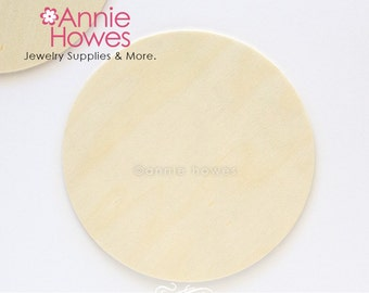 """4"""" Wood Circles for Wood Crafts, Coaster Size Unfinished Wood Disc Shapes. 5 Pieces."""