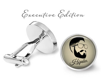 Hipster Cufflinks - Bearded Hipster Cuff Links - Beard Cufflinks (Pair) Lifetime Guarantee (S0327)