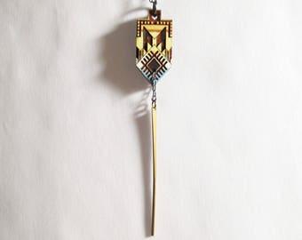 Morocco Spade Necklace, Sahara Desert Colors 1, Wood, Brass