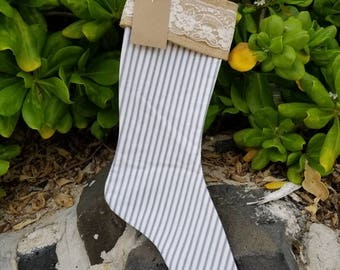 Shabby Chic Country  Christmas Stocking with burlap and lace cuff