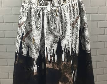 Large Cotton Lycra Magical Castles and Book Print Skirt