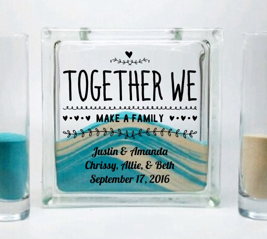 Beach Wedding Candle Ceremony: Sand Set For Blended Family Unity Candle Alternative