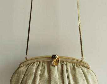 Pristine Judith Leiber Vintage Ivory Karung Snakeskin Convertible Clutch Purse