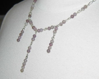 Lovely Lilac Beaded Drops Necklace