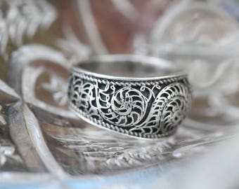 Asian Inspired Sterling Silver Scrollwork Ring
