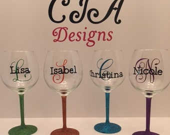 Personalized 20 oz Glitter Wine Glass
