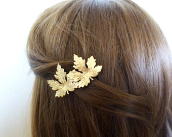 Double Leaf Barrette Bridal Hair Clip Bride Bridesmaid Gold Maple Leaves Autumn Fall Rustic Woodland Wedding Accessories Womens Gift For Her