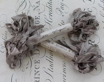 FRENCH GRAY Chabby Wrinkled Ribbon 5yrds