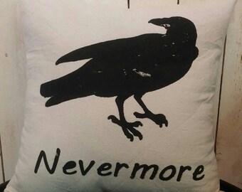 The Raven Nevermore Pillow Cover, Edgar Allan Poe, Throw Pillow, Halloween Pillow