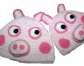 Hand Crocheted Pig Hat HH 025