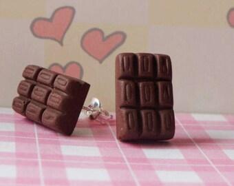 Chocolate Bar Stud Earrings