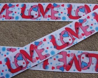 """7/8"""" Valentine Ribbon Love Ribbon Hearts Ribbon Printed Ribbon 3 yards Hair bow ribbon"""