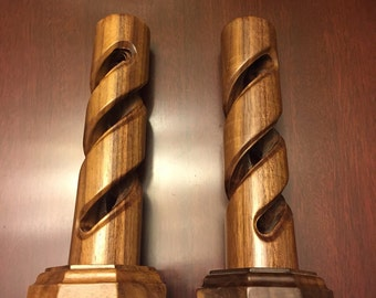 Wooden Candlesticks, Geometric candlesticks, Spiral candlestick, taper candle holders, pair candle sticks, Handcrafted Candle holders, gift