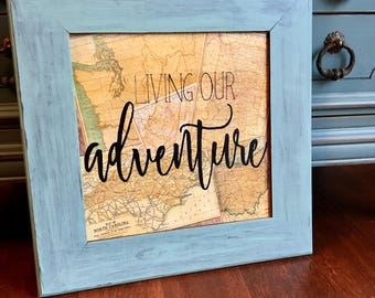 living our adventure map collage - customizable