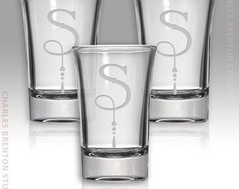 3 Pc Set of Shot Glasses 1.5 oz.  with Personalized Etched Monogram