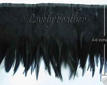 Hackle feather fringe of black color 2 yards trim New
