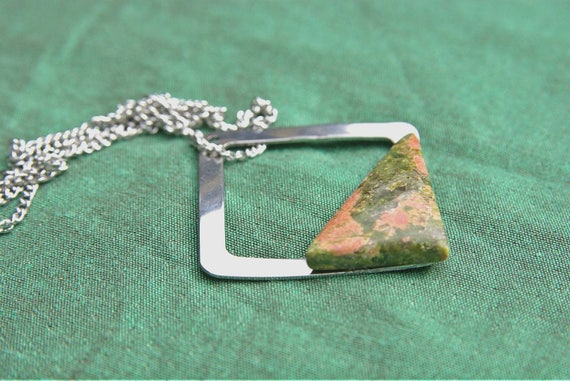 Natural Unakite Jewelry, Gemstone Necklace, Pendant Cabochon, Unakite Gift for Her, birthstone