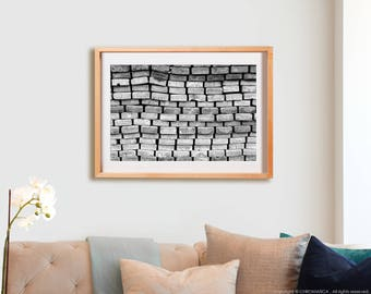 At the Beach Print.  Black and White photography, lines, decor, wall art, artwork, large format photo.