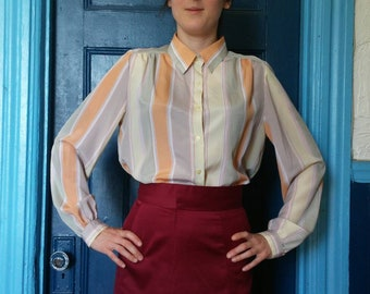 1960's pastel striped Parisian blouse.  Size small. Lightweight summer. Made in France. Rodier Paris.