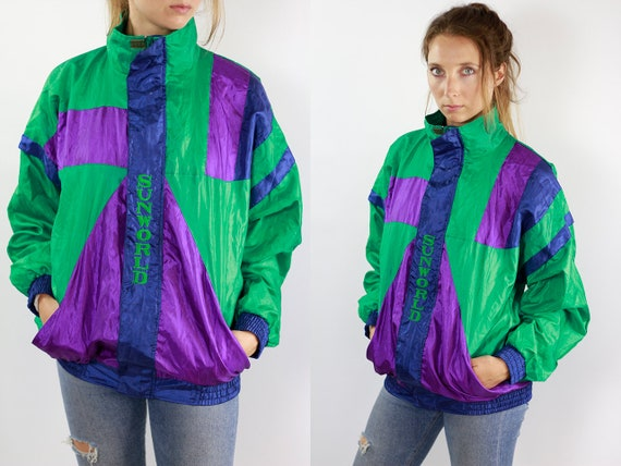 Vintage Windbreaker Vintage Track Jacket Retro Windbreaker Green Vintage Jacket Vintage 90s Windbreaker 90s Track Jacket Retro Tracksuit Top