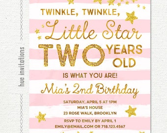 twinkle twinkle little star birthday invitation, pink girls 2nd birthday invitation, gold glitter stars stripes custom printable file