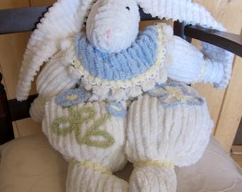 Blue White Chenille Flower Easter Bunny Stuffed Rabbit