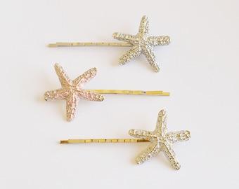 Set Of 3 Starfish Bobby Pin - Hair Clip - Beach Hair - Nautical Accessory - Mermaid Hair - Cute Hair Pin - Hair Accessories