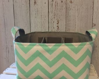 Diaper Caddy, Baby Organizer, Baby Caddy, Fabric Basket bin with adjustable and removable dividers, Mint 12x 10 x7