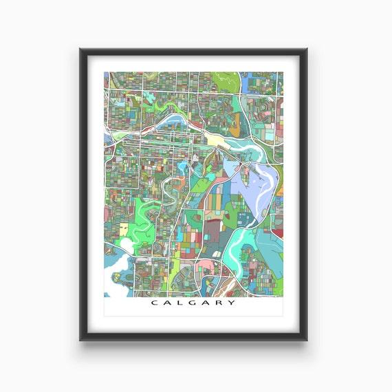 items similar to calgary map print calgary alberta canada city art map poster on etsy